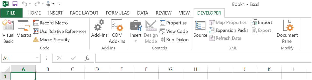 The activated Developer tab in Excel