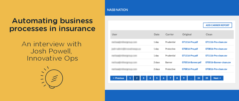 Automating business processes in insurance