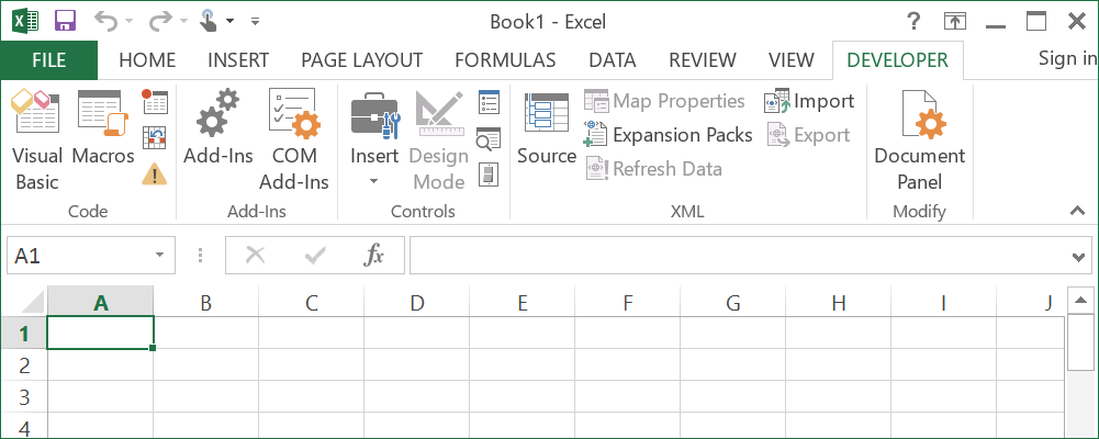 How to use developer tab in excel