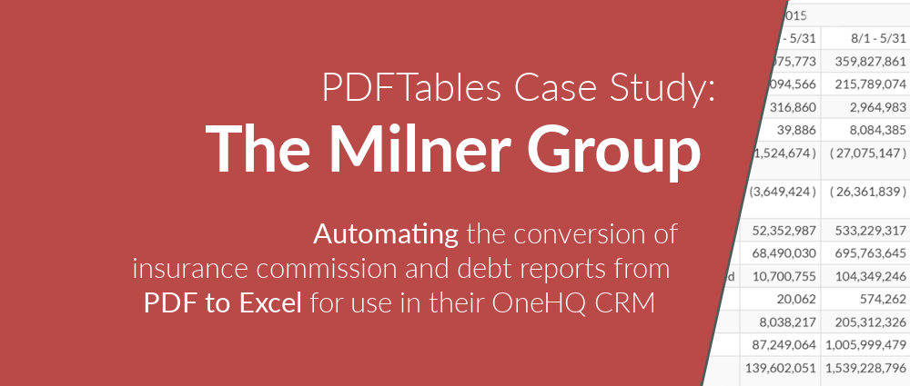 Milner Group Insurance brokerage automates PDF to Excel and realises 10x financial savings
