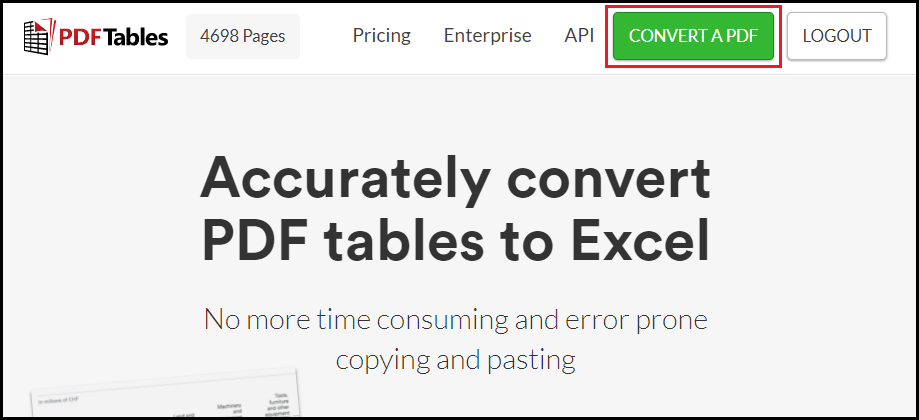 Convert a PDF to Excel on PDFTables.com