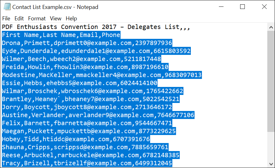 Open contacts CSV in Notepad