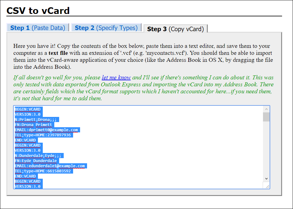 Copy CSV to vCard format