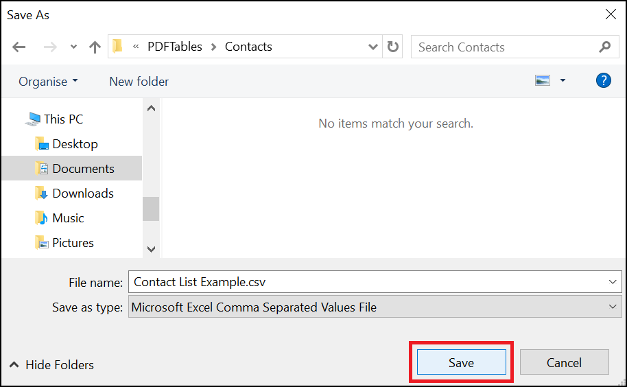 Select download location for PDF to CSV