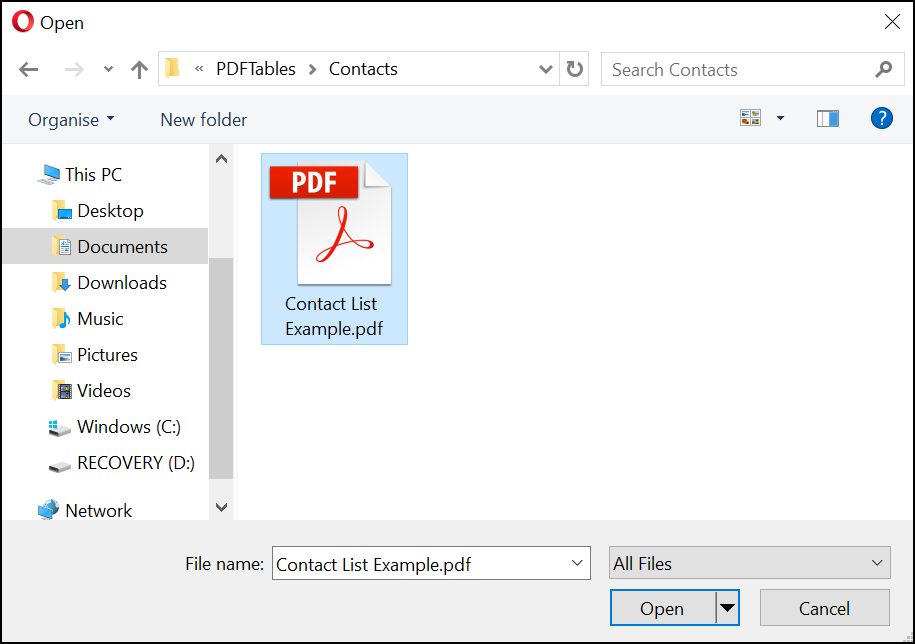Select a contacts PDF in Explorer