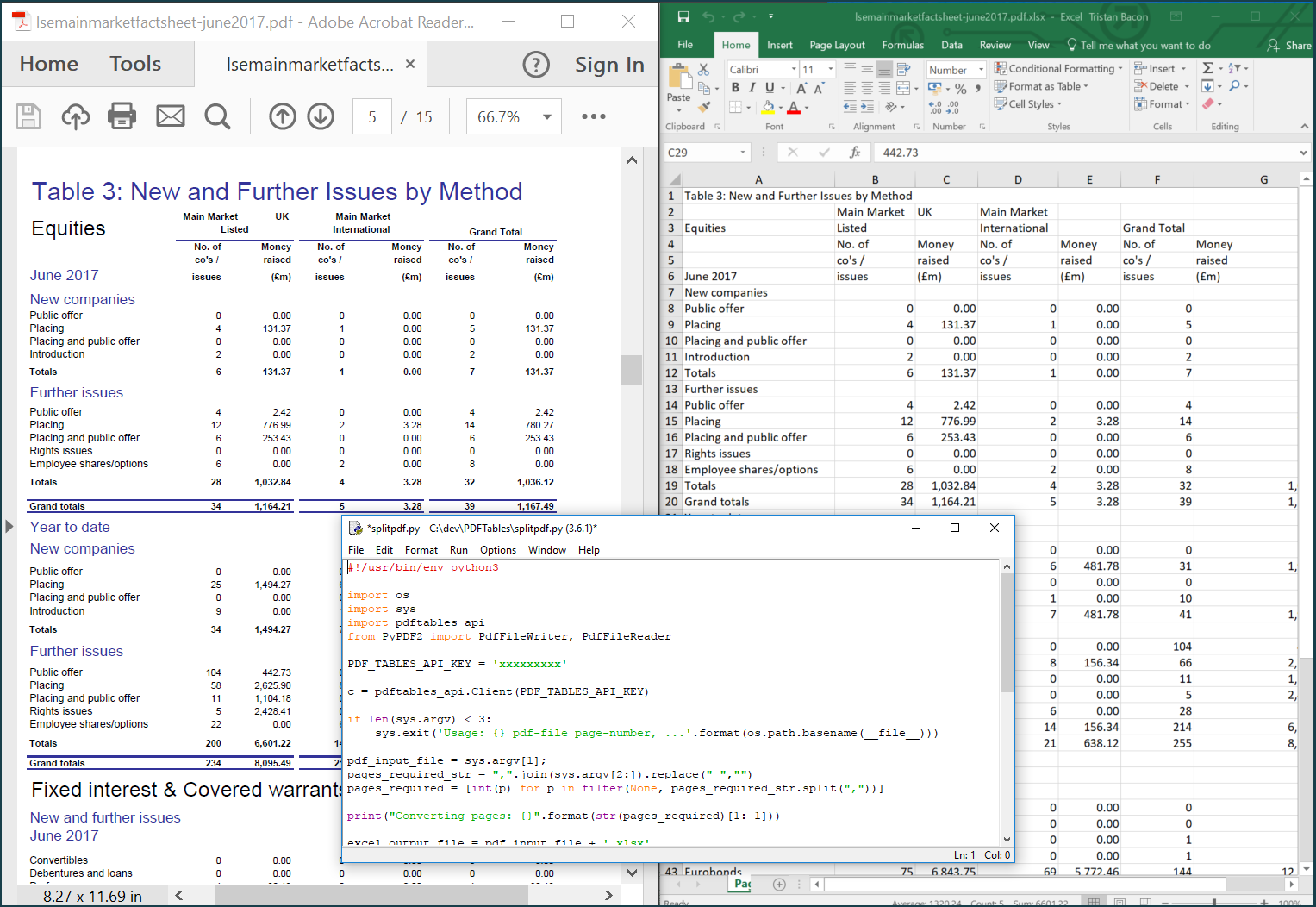 How to convert specific PDF pages to Excel with Python — PDFTables