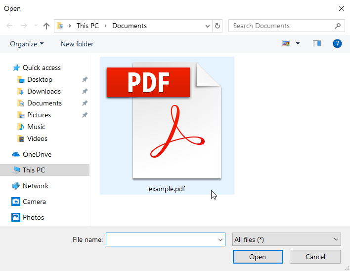Windows file open dialog with a PDF highlighted.