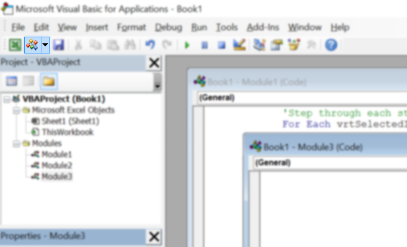 The Insert a VBA module button