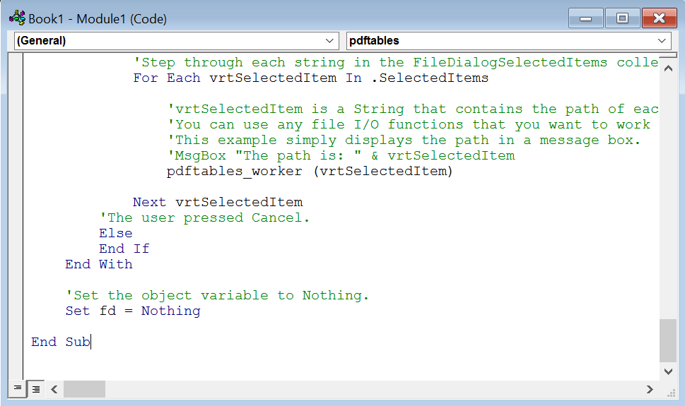 The VBA code in the code editor