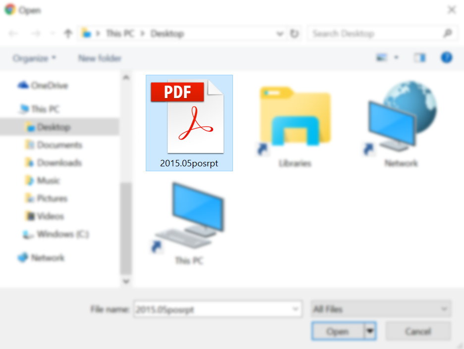 Selected PDF document in Explorer dialog